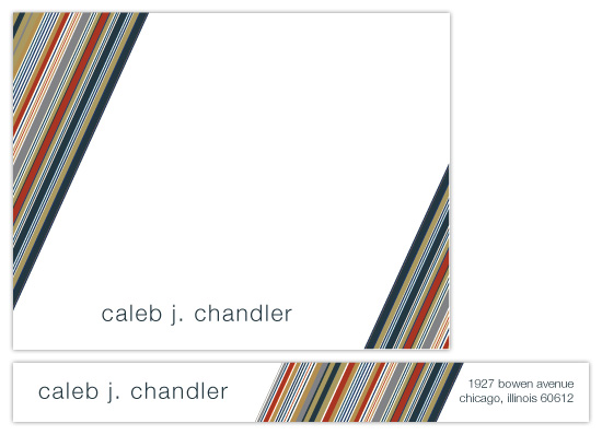 personal stationery - Masculine Stripes by Claire P Chandler