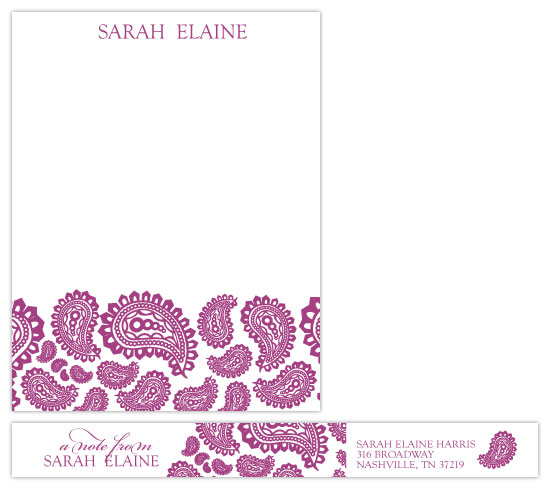 personal stationery - Purple Paisley by Erika Tracy