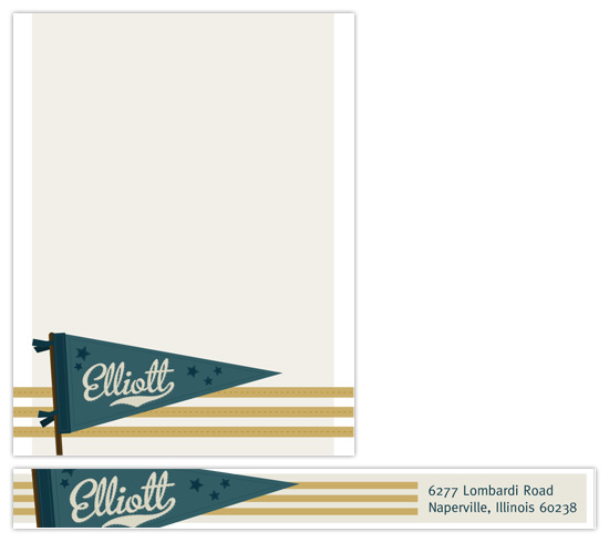 personal stationery - Vintage Pennant by Paper Plains