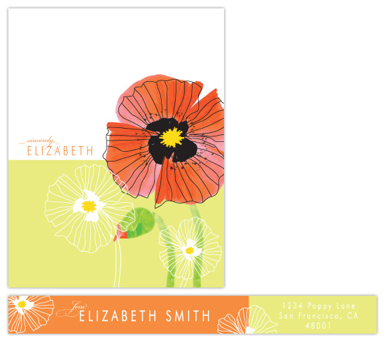 personal stationery - Chic Poppies by Coco and Ellie Design
