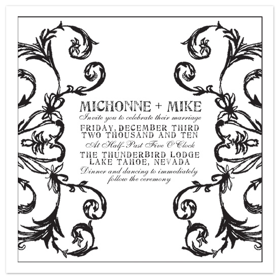 wedding invitations - Achromatic Flourish by LNL