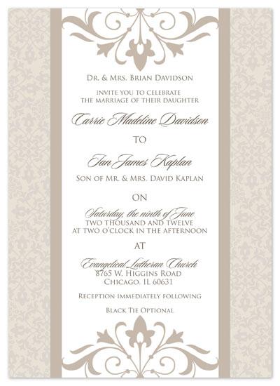 wedding invitations - Vanilla Ivory & Coffee Cream Damask by Kristie Litchfield