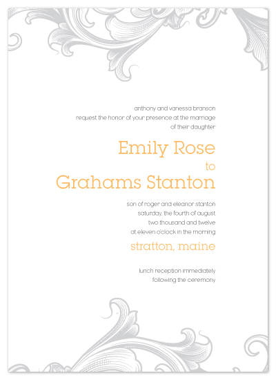 wedding invitations - Vintage Scroll by Christine Wagner