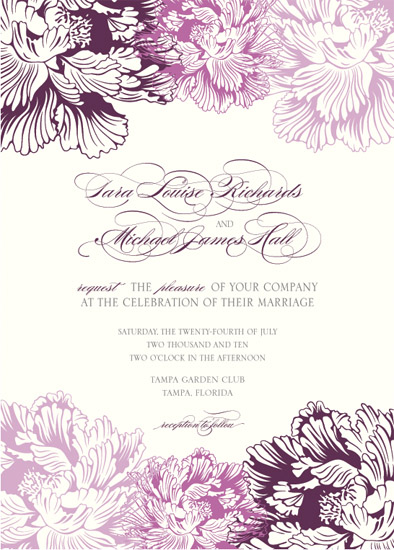 Wedding Invitations Peony And Plum By Citrus Press Co