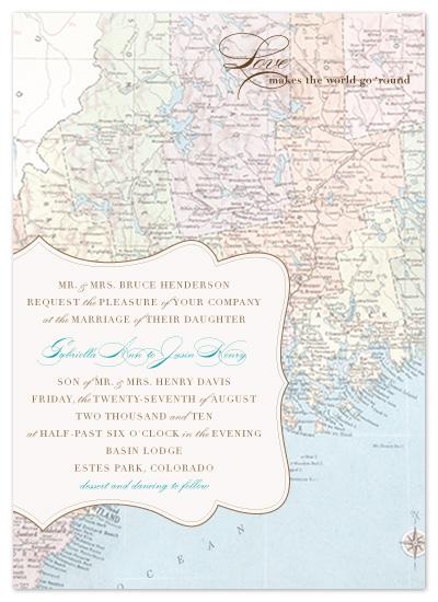 wedding invitations - Antique Map by Amanda Joy