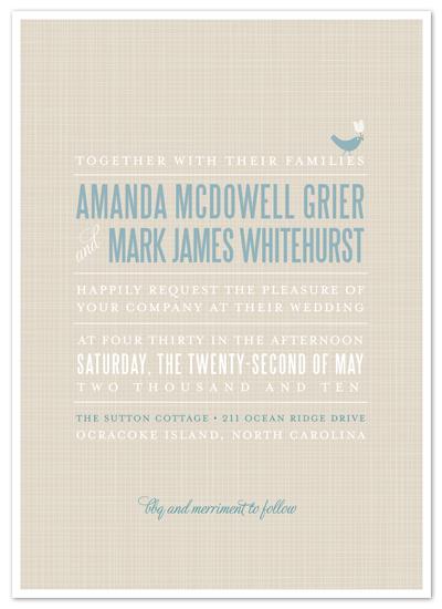 wedding invitations - sweet linen by Carrie Eckert