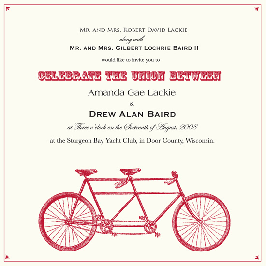 wedding invitations - A Bike Made For Two by Amanda Baird