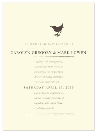 wedding invitations - Little Brown Bird by Kate Trowbridge