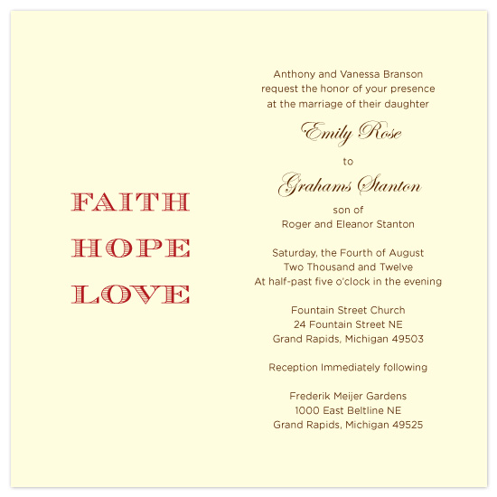 wedding invitations - Faith, Hope, and Love by Sue Bakkila