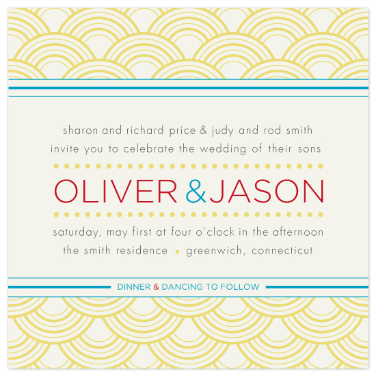 wedding invitations - Retro Dots and Stripes by uphill industries