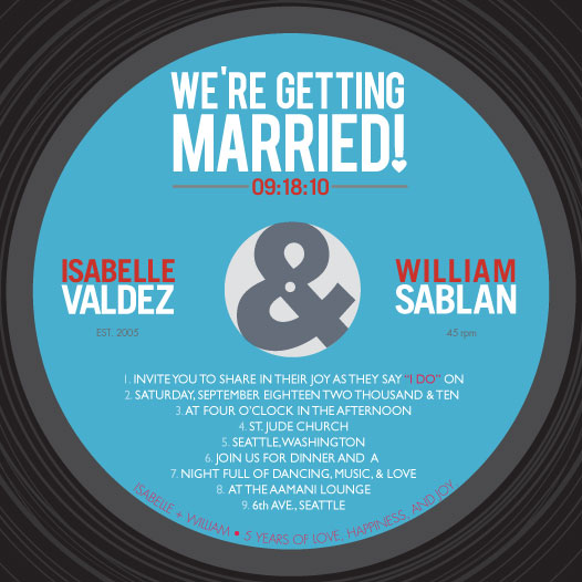 wedding invitations - Vinyl Record by Marina D. Valencia