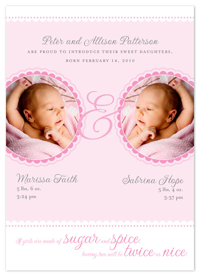 birth announcements - Sugar and Spice by Jessica Bishop