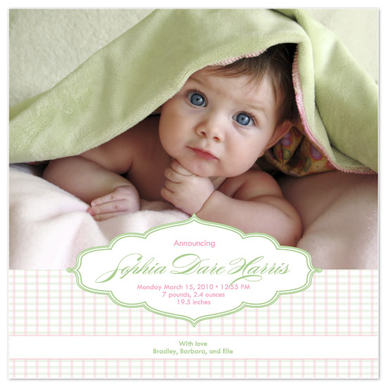 birth announcements - preppy plaid by yoo and me designs