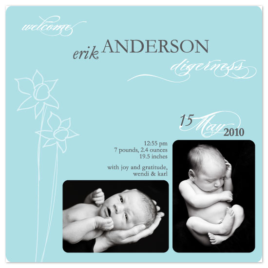 birth announcements - daffodils & me by yoo and me designs