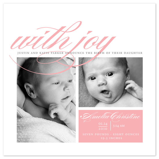 birth announcements - With Joy by Sarah Guse Brown