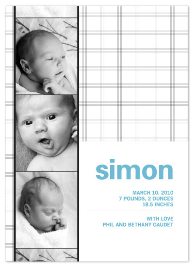 birth announcements - plaid photo booth by yoo and me designs