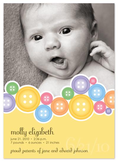 birth announcements - Cute As A Button by Bridget Collins