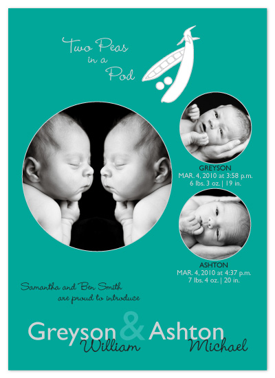 birth announcements - Two Peas in a Pod by Melissa DeBuck