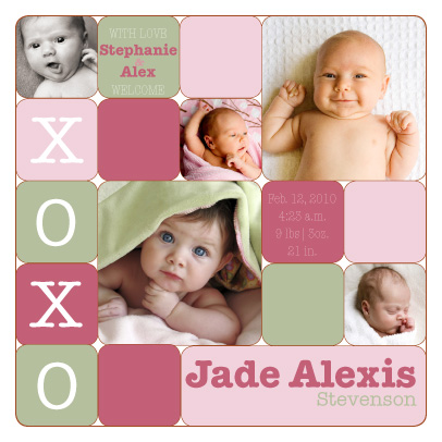 birth announcements - XOXO Squares by Melissa DeBuck