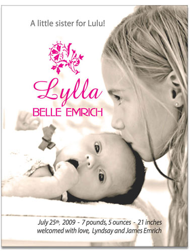 birth announcements - Little Sister Birth Announcement by Lisa Saliture