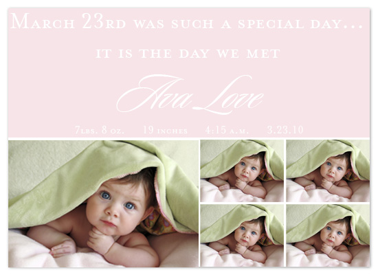 birth announcements - Baby Pink by Katie Leavell