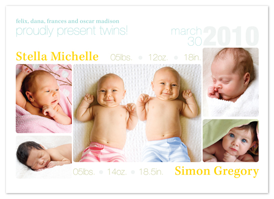 birth announcements - Double Debut by gibberish ink