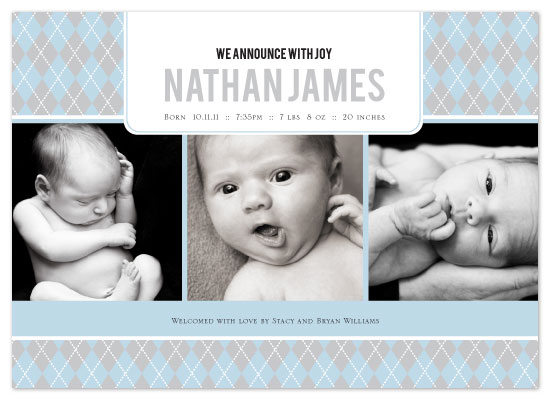 birth announcements Argyle Welcome Baby Boy at Minted – Boy Birth Announcement