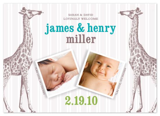 birth announcements - Twin Giraffes by Allison Grynberg