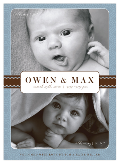 birth announcements - Double Blessings by Ten26 Design Custom Invitations