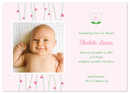 birth announcements - Baby Girl Blooming by Jenuine Paper Company