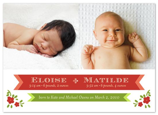 birth announcements - Folk Floral by Kelly Nasuta