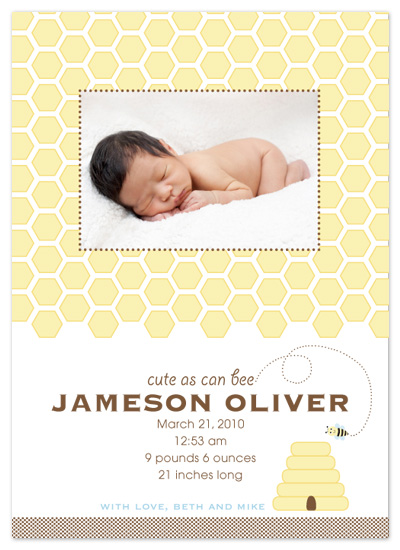 birth announcements - Cute As Can Bee by Eutopia Events