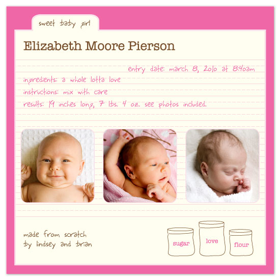birth announcements - made from scratch by yoo and me designs