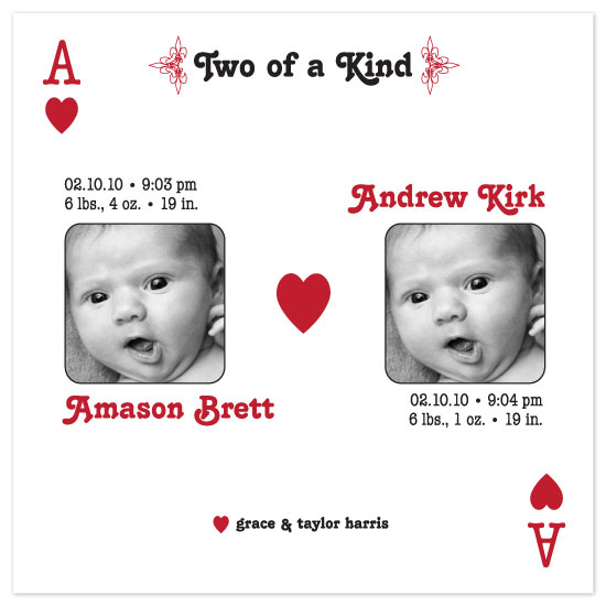 birth announcements - two of a kind by yoo and me designs