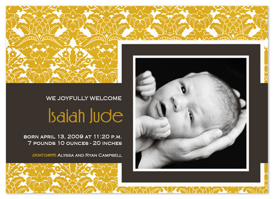 birth announcements - Golden Vintage by Christy Vance