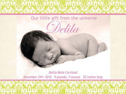 birth announcements - Our little gift from the universe by Lisa Saliture