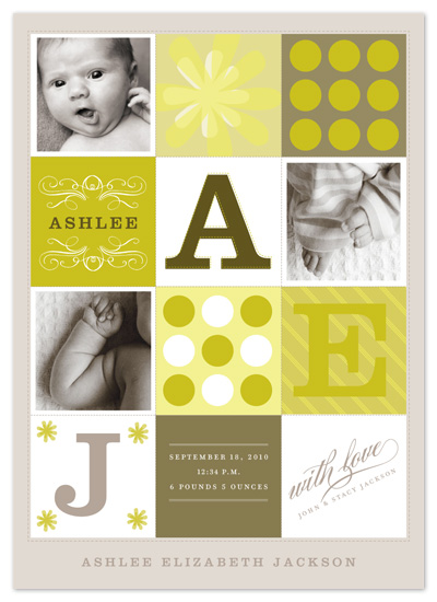 birth announcements - mod quilt by pottsdesign