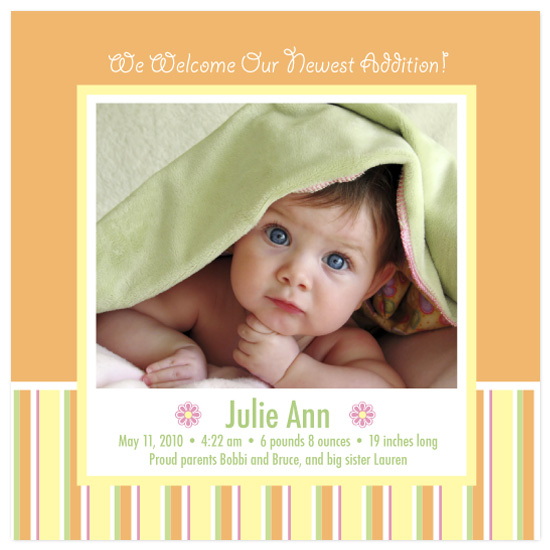birth announcements - Tangerine Daisy by Eutopia Events