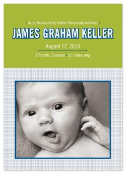 Grid in Green Baby Announcement