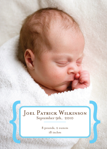 birth announcements - baby brackets by pb house