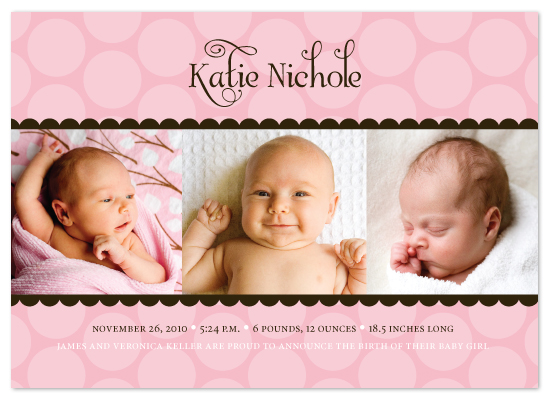 birth announcements - Simply Sweet Polka Dots by The Speckled Duck