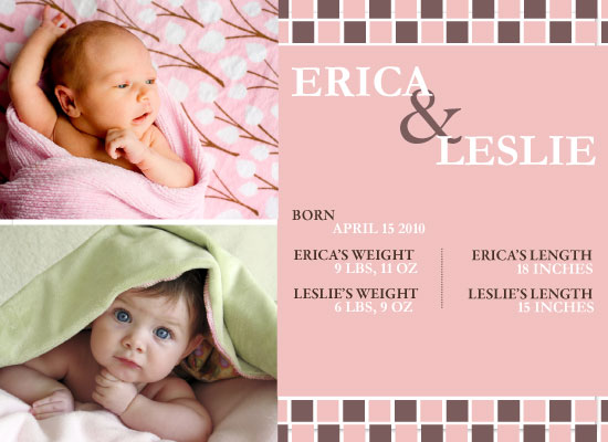 birth announcements - Chocolate Checkers by Paula B