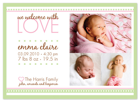 birth announcements - Welcome Love by Peach Blossom Paperie