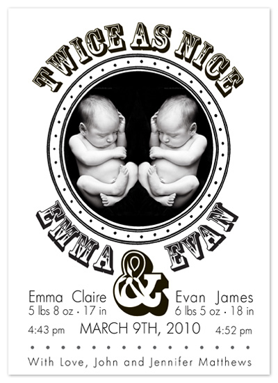 birth announcements - Twins are Twice as Nice by Peach Blossom Paperie