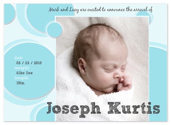 birth announcements - Blue Bubbles by www.project1128.com
