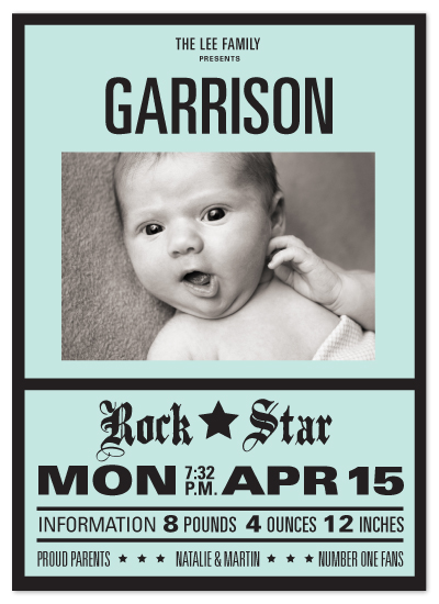 birth announcements - Our Lil' Rockstar by sweet street gals