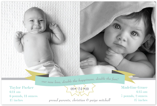 birth announcements - double the happiness, double the fun! by MAGG + LOUIE
