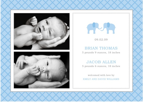 birth announcements - blue elephant twins by KSW