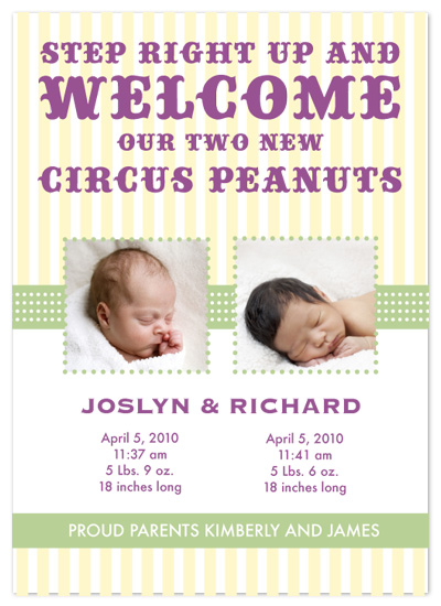 birth announcements - Circus Peanuts by Eutopia Events
