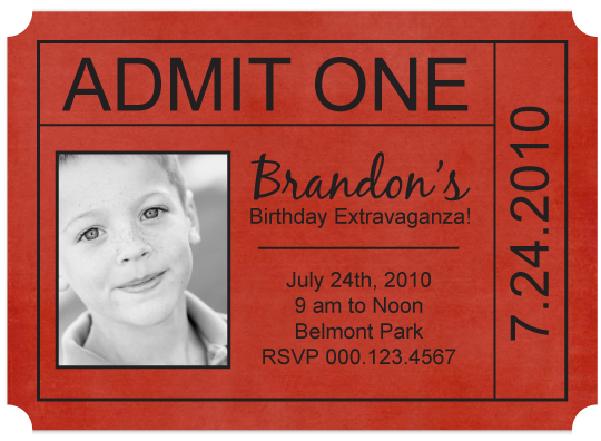 Birthday Party Invitations Ticket Stub At Minted